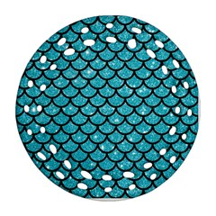 Scales1 Black Marble & Turquoise Glitter Ornament (round Filigree) by trendistuff