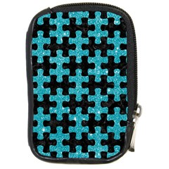 Puzzle1 Black Marble & Turquoise Glitter Compact Camera Cases by trendistuff
