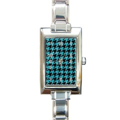Houndstooth1 Black Marble & Turquoise Glitter Rectangle Italian Charm Watch by trendistuff