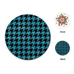Houndstooth1 Black Marble & Turquoise Glitter Playing Cards (round)  by trendistuff