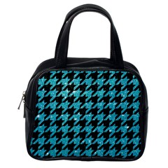 Houndstooth1 Black Marble & Turquoise Glitter Classic Handbags (one Side) by trendistuff