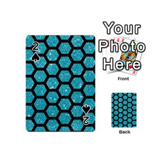 Hexagon2 Black Marble & Turquoise Glitter Playing Cards 54 (mini)  by trendistuff