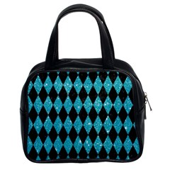Diamond1 Black Marble & Turquoise Glitter Classic Handbags (2 Sides) by trendistuff