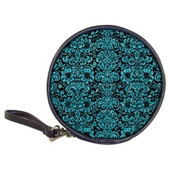 Damask2 Black Marble & Turquoise Glitter (r) Classic 20 Cd Wallets by trendistuff