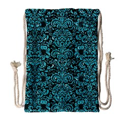 Damask2 Black Marble & Turquoise Glitter (r) Drawstring Bag (large) by trendistuff