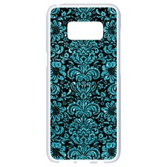 Damask2 Black Marble & Turquoise Glitter (r) Samsung Galaxy S8 White Seamless Case by trendistuff