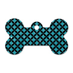 Circles3 Black Marble & Turquoise Glitter Dog Tag Bone (two Sides) by trendistuff