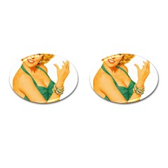 Woman 792872 1920 Cufflinks (oval) by vintage2030