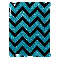 Chevron9 Black Marble & Turquoise Glitter Apple Ipad 3/4 Hardshell Case (compatible With Smart Cover) by trendistuff