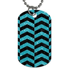 Chevron2 Black Marble & Turquoise Glitter Dog Tag (two Sides) by trendistuff