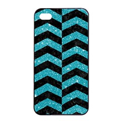 Chevron2 Black Marble & Turquoise Glitter Apple Iphone 4/4s Seamless Case (black) by trendistuff