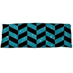Chevron1 Black Marble & Turquoise Glitter Body Pillow Case Dakimakura (two Sides) by trendistuff