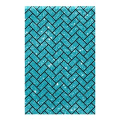 Brick2 Black Marble & Turquoise Glitter Shower Curtain 48  X 72  (small)  by trendistuff