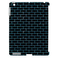 Brick1 Black Marble & Turquoise Glitter (r) Apple Ipad 3/4 Hardshell Case (compatible With Smart Cover) by trendistuff