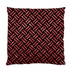 Woven2 Black Marble & Red Glitter (r)woven2 Black Marble & Red Glitter (r) Standard Cushion Case (two Sides) by trendistuff