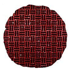Woven1 Black Marble & Red Glitter Large 18  Premium Flano Round Cushions by trendistuff