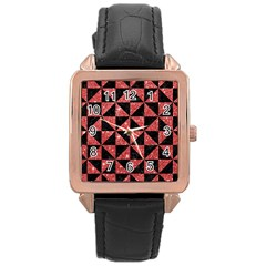 Triangle1 Black Marble & Red Glitter Rose Gold Leather Watch  by trendistuff