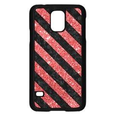 Stripes3 Black Marble & Red Glitter Samsung Galaxy S5 Case (black) by trendistuff