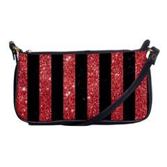 Stripes1 Black Marble & Red Glitter Shoulder Clutch Bags by trendistuff