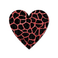 Skin1 Black Marble & Red Glitter Heart Magnet by trendistuff