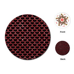 Scales3 Black Marble & Red Glitter (r) Playing Cards (round)  by trendistuff
