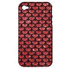 Scales3 Black Marble & Red Glitter Apple Iphone 4/4s Hardshell Case (pc+silicone) by trendistuff
