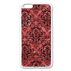 Damask1 Black Marble & Red Glitter Apple Iphone 6 Plus/6s Plus Enamel White Case by trendistuff