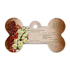 Letter Floral Dog Tag Bone (two Sides) by vintage2030