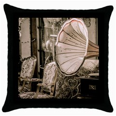 Flea Market Redord Player Throw Pillow Case (black) by vintage2030