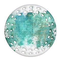 Splash Teal Round Filigree Ornament (two Sides) by vintage2030