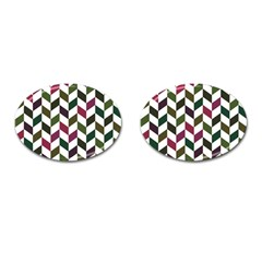 Zigzag Chevron Pattern Green Purple Cufflinks (oval) by vintage2030