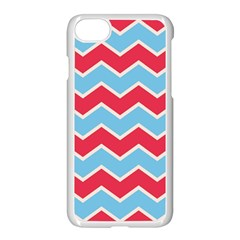 Zigzag Chevron Pattern Blue Red Apple Iphone 7 Seamless Case (white) by vintage2030