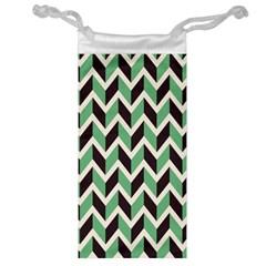 Zigzag Chevron Pattern Green Black Jewelry Bag by vintage2030