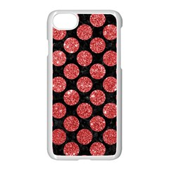 Circles2 Black Marble & Red Glitter (r) Apple Iphone 7 Seamless Case (white) by trendistuff