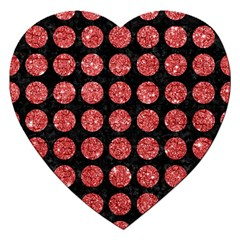 Circles1 Black Marble & Red Glitter (r) Jigsaw Puzzle (heart) by trendistuff
