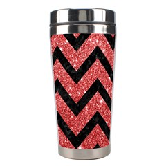Chevron9 Black Marble & Red Glitter Stainless Steel Travel Tumblers by trendistuff