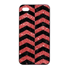 Chevron2 Black Marble & Red Glitter Apple Iphone 4/4s Seamless Case (black) by trendistuff