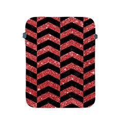 Chevron2 Black Marble & Red Glitter Apple Ipad 2/3/4 Protective Soft Cases by trendistuff