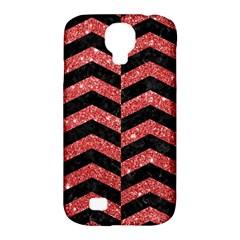 Chevron2 Black Marble & Red Glitter Samsung Galaxy S4 Classic Hardshell Case (pc+silicone) by trendistuff