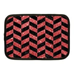 Chevron1 Black Marble & Red Glitter Netbook Case (medium)  by trendistuff