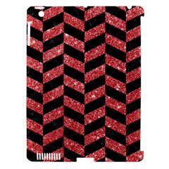 Chevron1 Black Marble & Red Glitter Apple Ipad 3/4 Hardshell Case (compatible With Smart Cover) by trendistuff