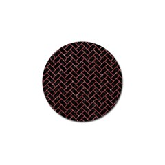 Brick2 Black Marble & Red Glitter (r) Golf Ball Marker (10 Pack) by trendistuff