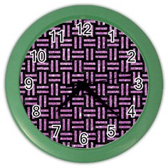 Woven1 Black Marble & Purple Glitter (r) Color Wall Clocks by trendistuff