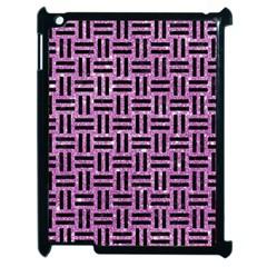 Woven1 Black Marble & Purple Glitter Apple Ipad 2 Case (black) by trendistuff