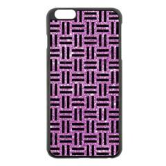 Woven1 Black Marble & Purple Glitter Apple Iphone 6 Plus/6s Plus Black Enamel Case by trendistuff