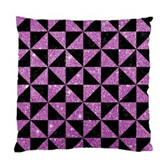 Triangle1 Black Marble & Purple Glitter Standard Cushion Case (two Sides) by trendistuff