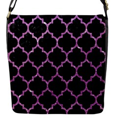 Tile1 Black Marble & Purple Glitter (r) Flap Messenger Bag (s) by trendistuff