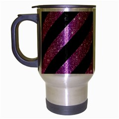 Stripes3 Black Marble & Purple Glitter (r) Travel Mug (silver Gray) by trendistuff