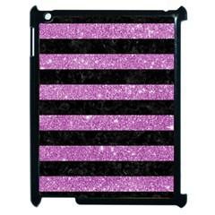Stripes2black Marble & Purple Glitter Apple Ipad 2 Case (black) by trendistuff