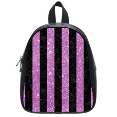 Stripes1 Black Marble & Purple Glitter School Bag (small) by trendistuff